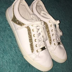 brand new white & gold guess shoes